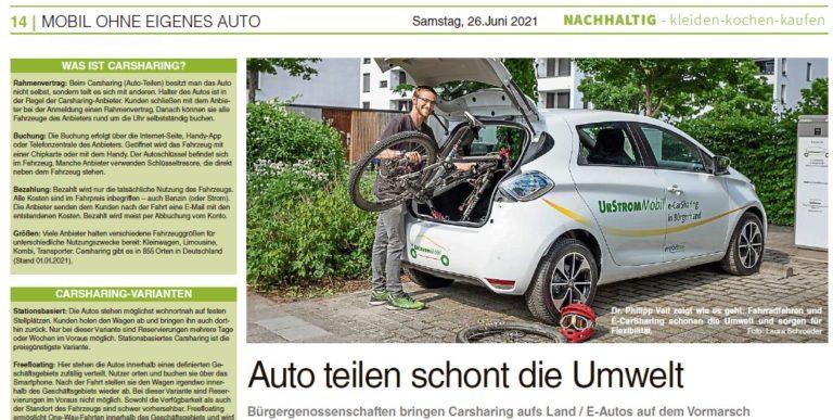 Auto teilen schont die Umwelt